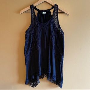 MAURICES Navy Blue Lace Tank Size Medium